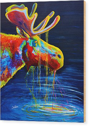 Moose Drool Wood Print by Teshia Art
