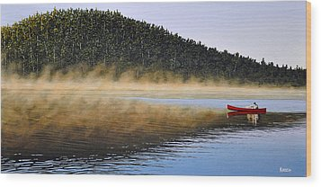 Wood Print featuring the painting Moose Lake Paddle by Kenneth M  Kirsch