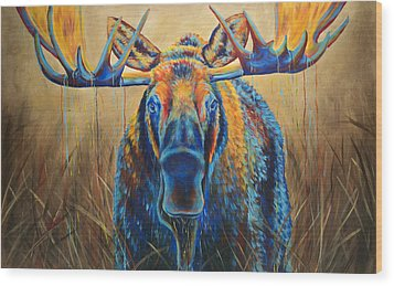 Moose Marsh Wood Print