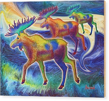Wood Print featuring the mixed media Moose Mystique by Teresa Ascone