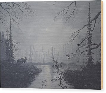 Wood Print featuring the painting Moose Swanson River Alaska by Richard Faulkner
