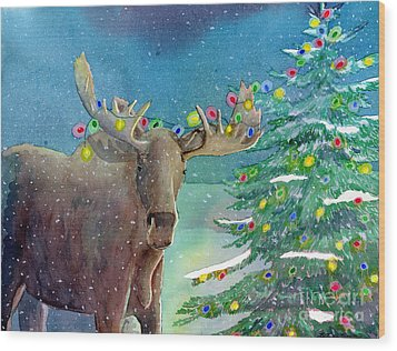 Moosey Christmas Wood Print