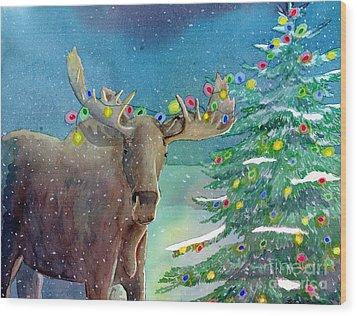 Moosey Christmas Wood Print by LeAnne Sowa