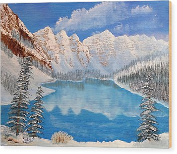 Moraine Lake By Winter Time  Wood Print by Peter Kallai