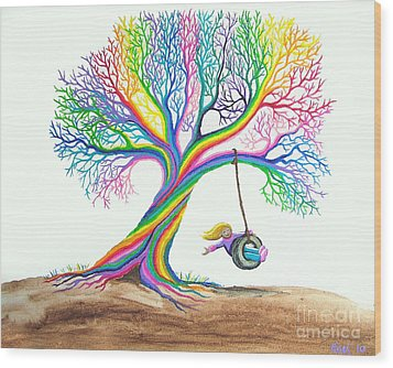 More Rainbow Tree Dreams Wood Print by Nick Gustafson