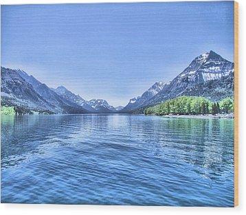 More Shades Of Blue Wood Print