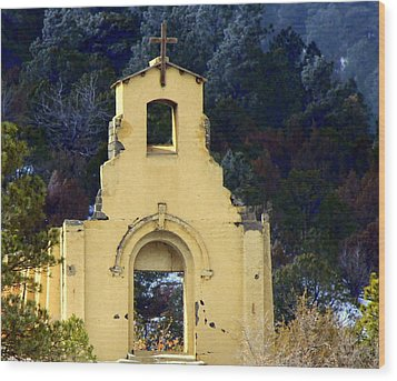 Wood Print featuring the photograph Mountain Mission Church by Barbara Chichester