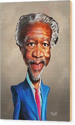 Morgan Freeman Wood Print