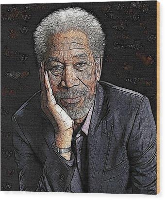 Wood Print featuring the painting Morgan Freeman  by Georgeta Blanaru
