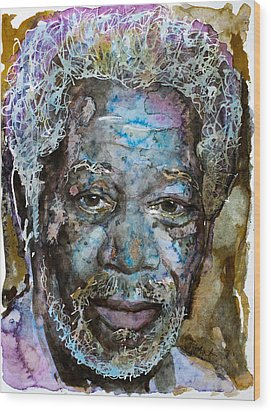 Wood Print featuring the painting Morgan In Blue by Laur Iduc