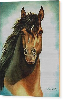 Wood Print featuring the painting Morgan Horse by Loxi Sibley