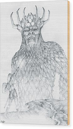 Wood Print featuring the drawing Morgoth And Fingolfin by Curtiss Shaffer