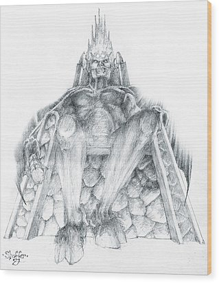 Wood Print featuring the drawing Morgoth Bauglir by Curtiss Shaffer