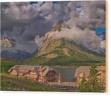 Morning At Many Glacier Hotel Wood Print by Rob Wilson