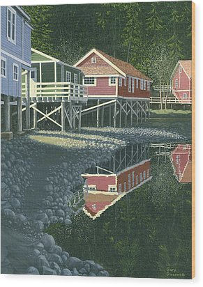 Wood Print featuring the painting Morning At Telegraph Cove by Gary Giacomelli