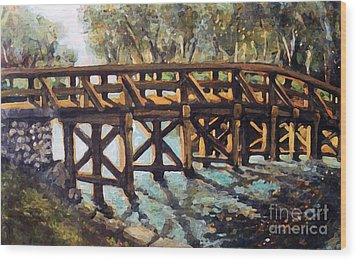 Wood Print featuring the painting Morning At The Old North Bridge by Rita Brown