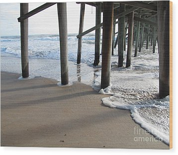 Morning At The Pier Wood Print by Michele Napier-Berg