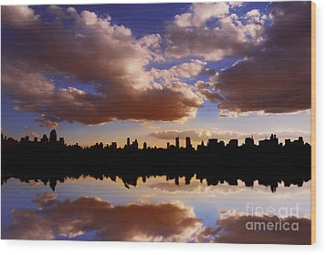 Morning At The Reservoir New York City Usa Wood Print