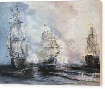 Wood Print featuring the painting Morning Battle by Lee Piper