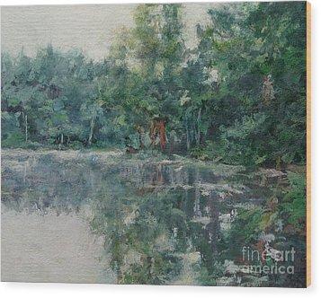 Morning Calm - Adirondacks Wood Print by Gregory Arnett