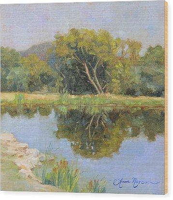 Morning Calm In Texas Summer Wood Print by Anna Rose Bain