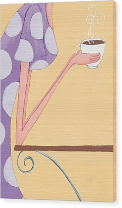 Morning Coffee Wood Print by Christy Beckwith