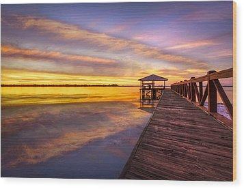 Morning Dock Wood Print by Debra and Dave Vanderlaan