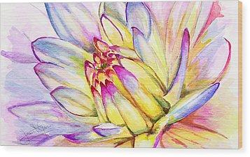 Morning Flower Wood Print by Janet Garcia
