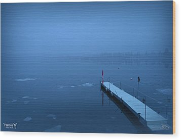 Morning Fog 002 - Skaha Lake 03-06-2014 Wood Print by Guy Hoffman