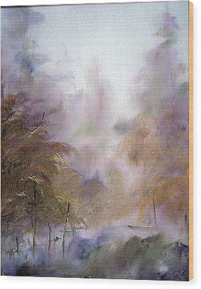 Morning Fog Wood Print by Alena Samsonov