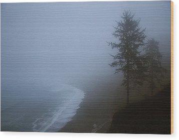 Morning Fog At Agate Beach Wood Print by Robert Woodward
