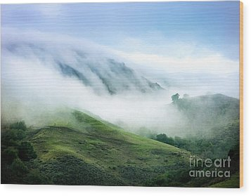 Morning Fog Wood Print by Ellen Cotton