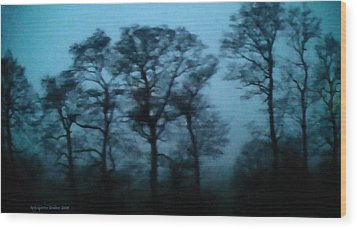 Morning Fog Outside The Night Train Wood Print by Aleksander Rotner