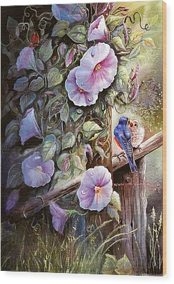 Morning Glories And Bluebirds. Wood Print by Patricia Schneider Mitchell