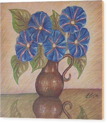 Morning Glories With Pink Background Wood Print by Claudia Cox