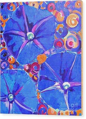 Morning Glory Flowers Wood Print by Ana Maria Edulescu