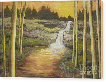Morning Glow By Vic Mastis With Oil And Gold Leaf Wood Print by Vic  Mastis