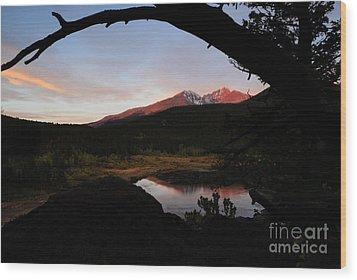 Morning Glow On Mountain Peaks Wood Print