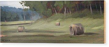 Morning Hay Wood Print by Erin Rickelton