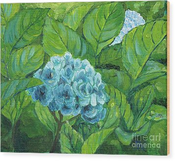 Wood Print featuring the painting Morning Hydrangea by Jingfen Hwu