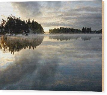 Morning Lake Reflection Wood Print