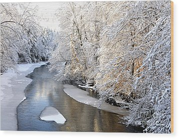 Morning Light Fresh Snowfall Gauley River Wood Print