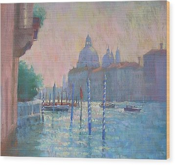 Morning Light From The Academia Bridge Wood Print by Jackie Simmonds
