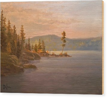Morning Light On Coeur D'alene Wood Print by Paul K Hill