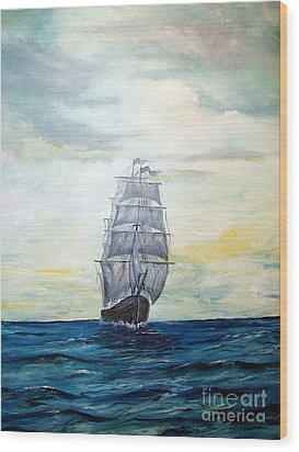 Wood Print featuring the painting Morning Light On The Atlantic by Lee Piper