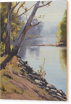 Morning Light Tumut River Wood Print by Graham Gercken