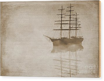Morning Mist In Sepia Wood Print by John Edwards
