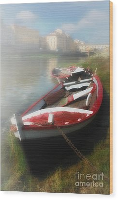 Morning Mist On The Arno River Italy Wood Print by Mike Nellums
