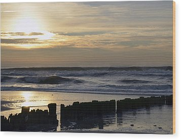 Morning Ocean Rockaway Beach 3 Wood Print by Maureen E Ritter