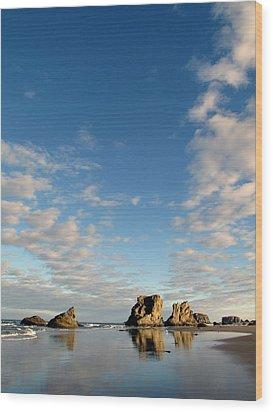 Morning Rocks Wood Print